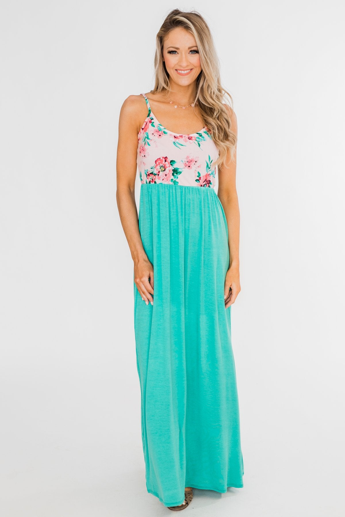 Endless Spring Floral Maxi Dress- Turquoise