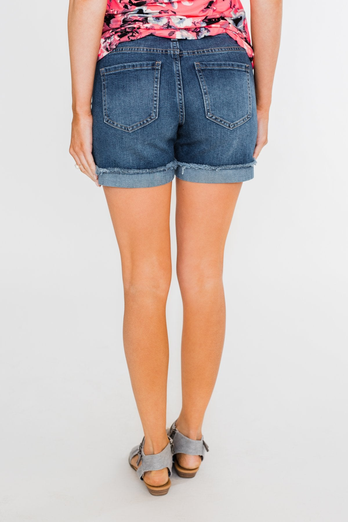 Celebrity Pink Cuff Shorts- Medium-Dark Wash