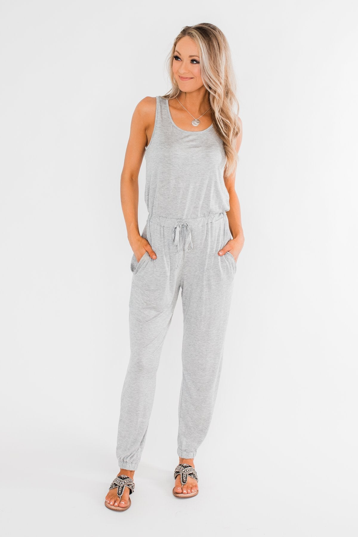 Day To Day Sleeveless Jumpsuit- Heather Grey