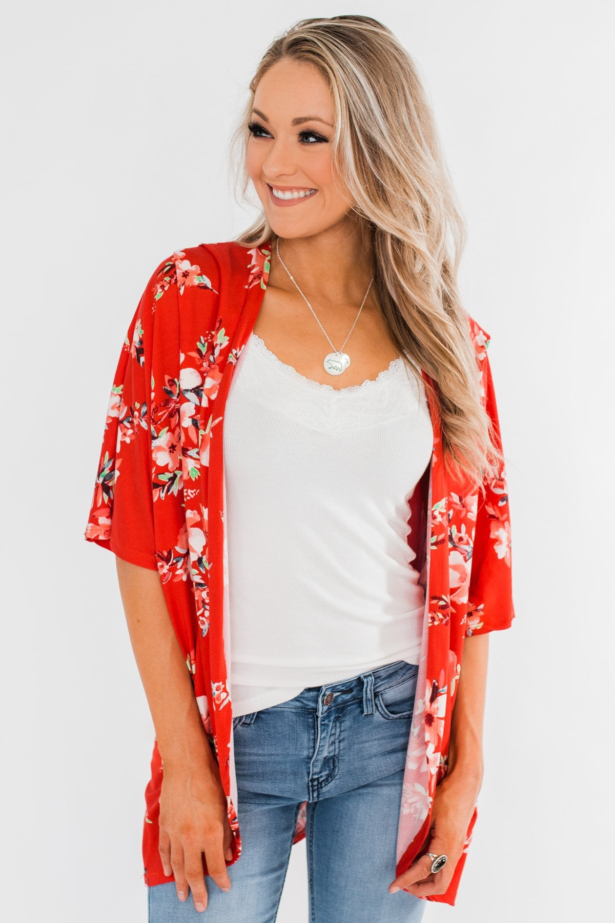 Never Been Better Floral Kimono- Scarlet Red