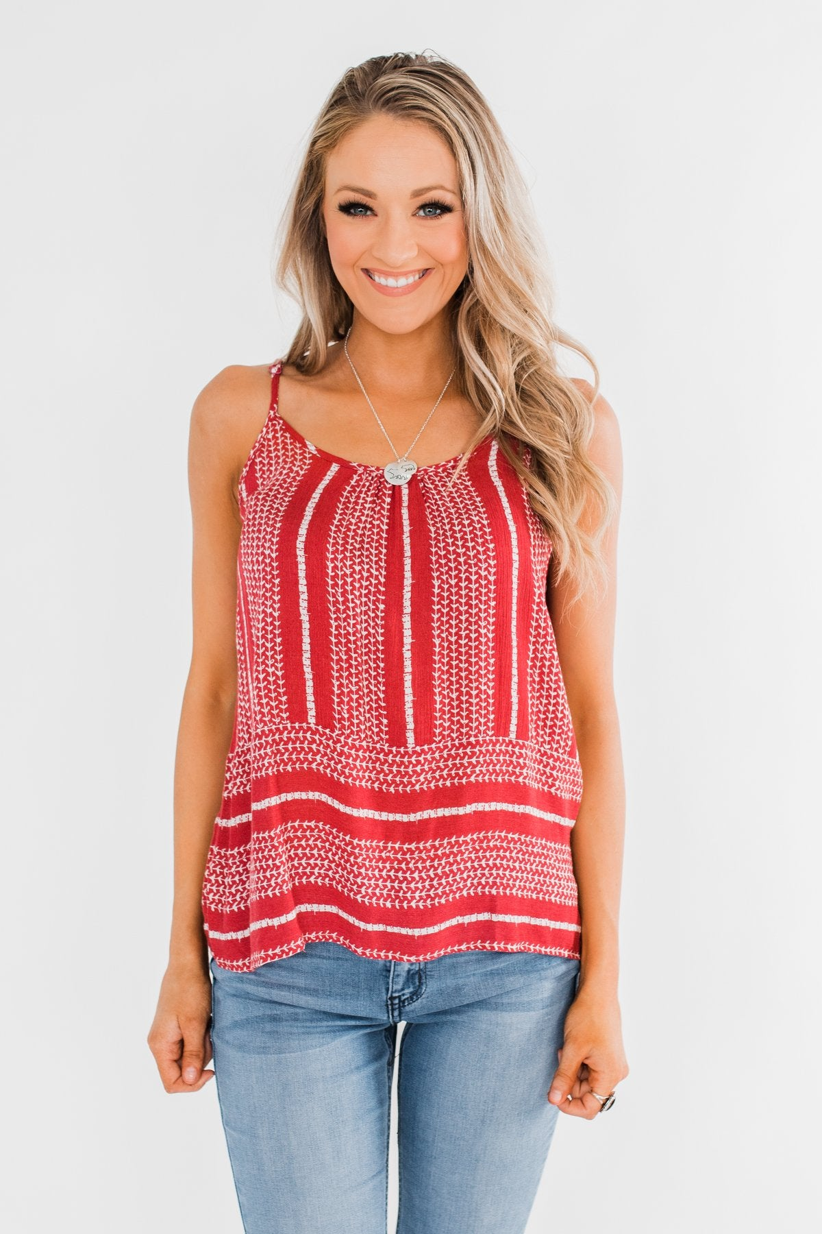 Amazed by Beauty Shift Tank Top- Raspberry Red