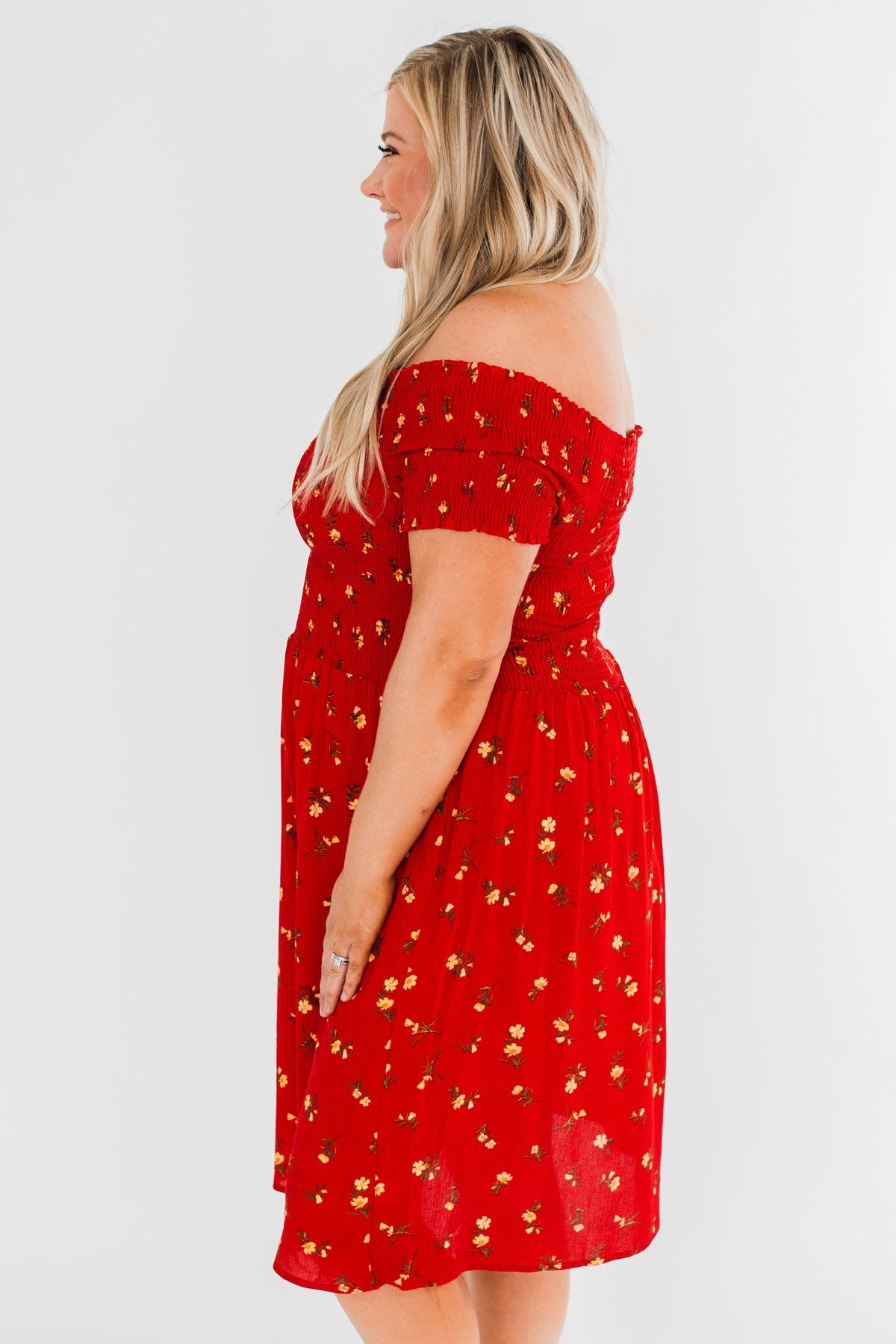 Dancing Through The Flowers Cinched Dress- Red