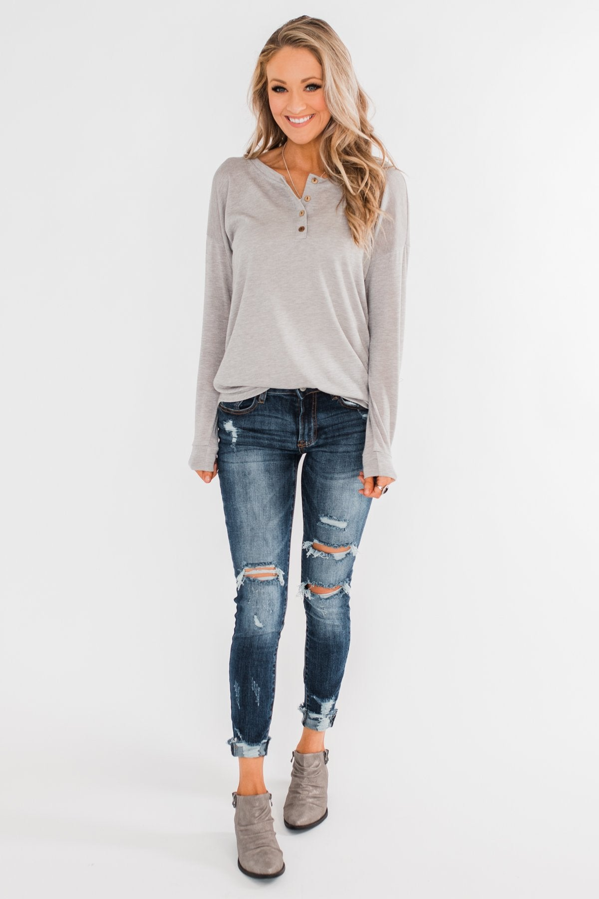Cozy & Warm 4 Button Henley Top- Heather Gray