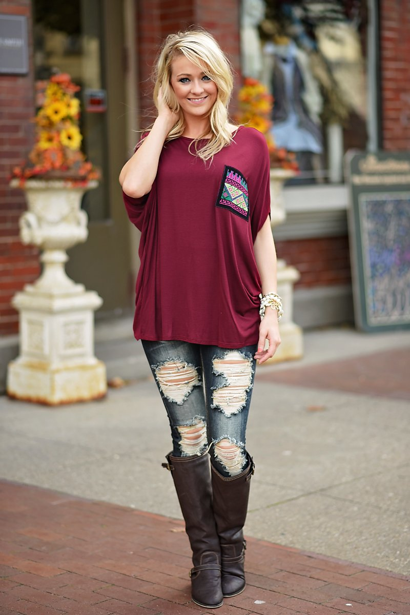 Aztec Pocket Top Burgundy