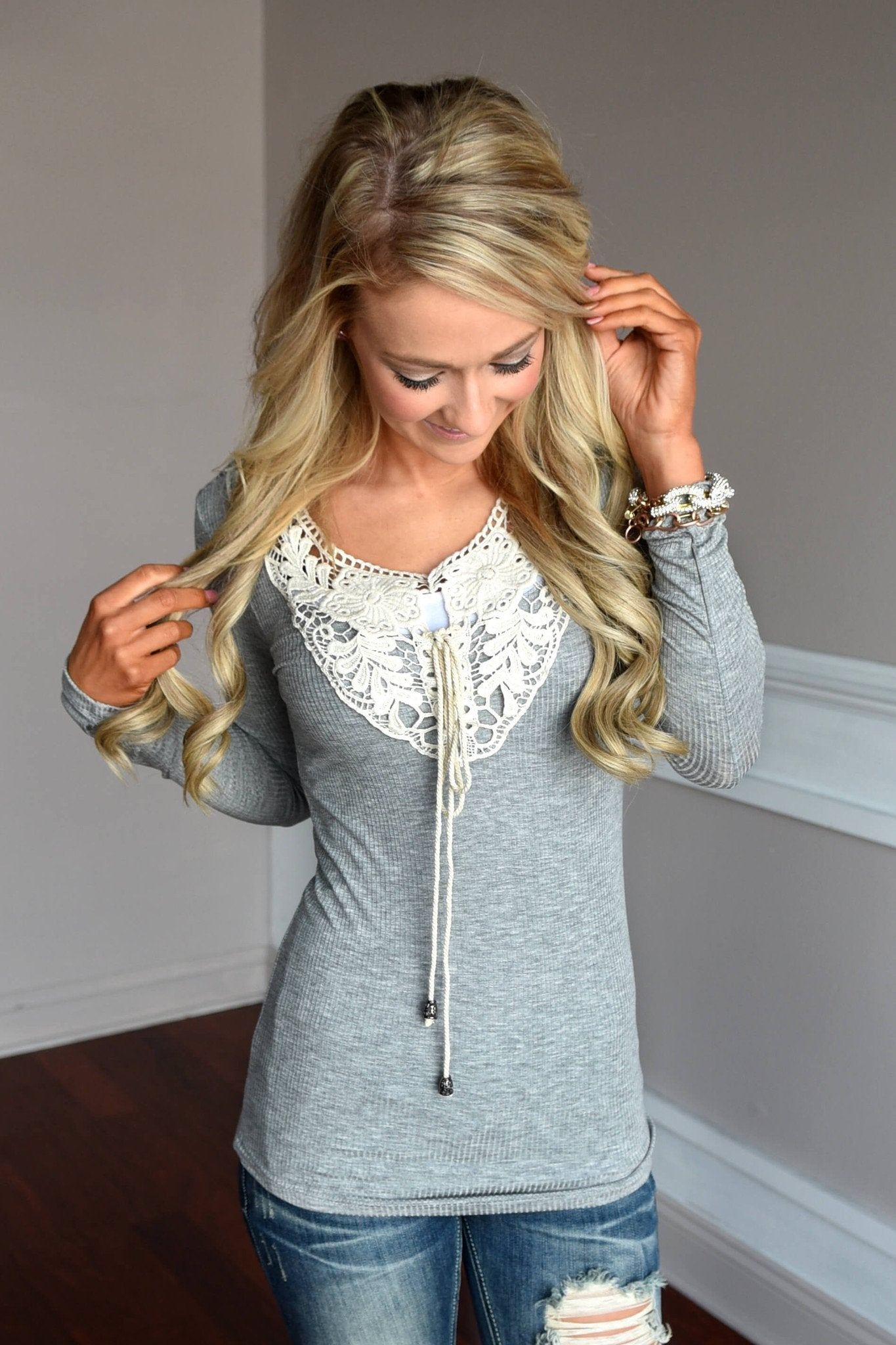Not Your Baby Doll Top ~ Grey