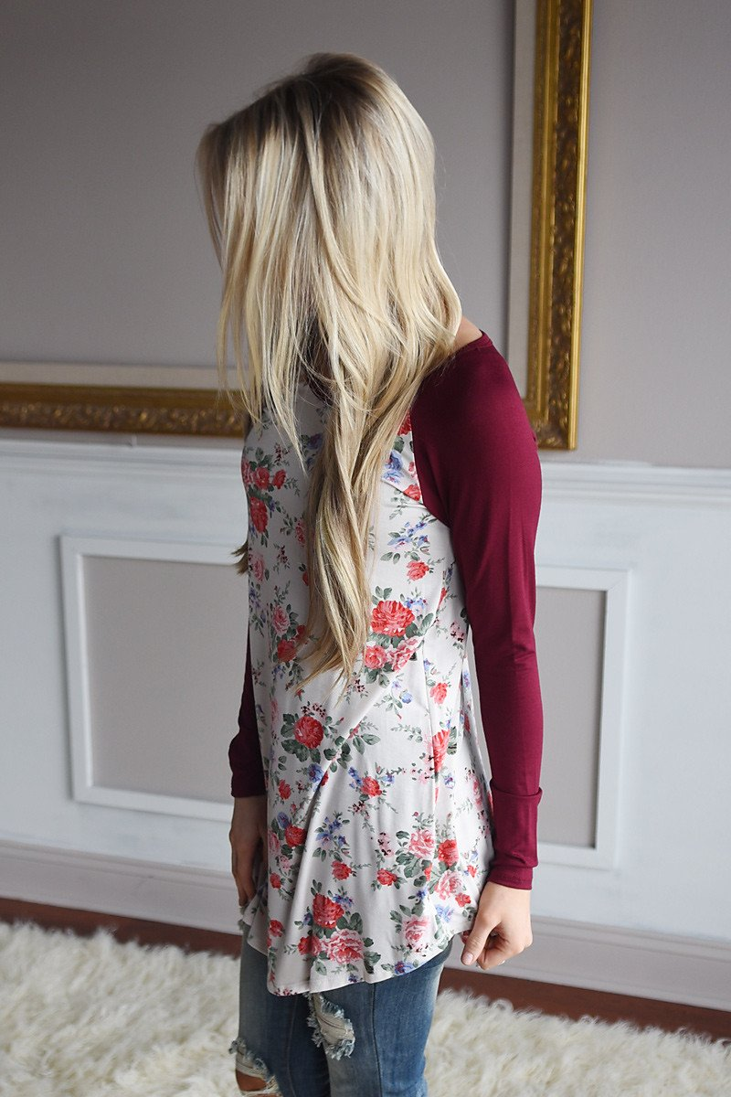 Blooming Love Top ~ Burgundy