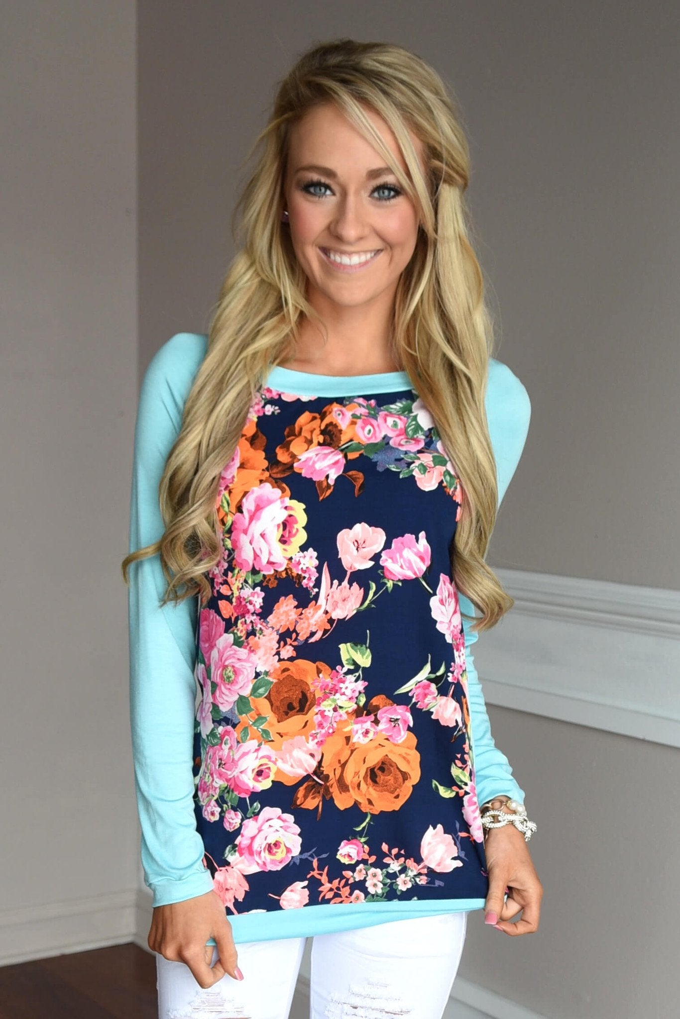 Floral Fantasy Top ~ Blue