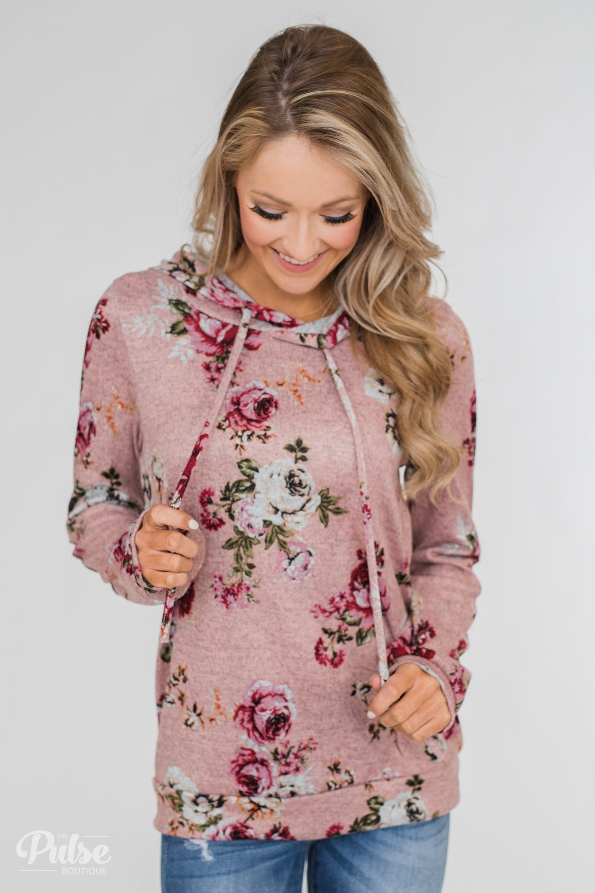 Catching Your Eye Floral Elbow Patch Hoodie- Pink