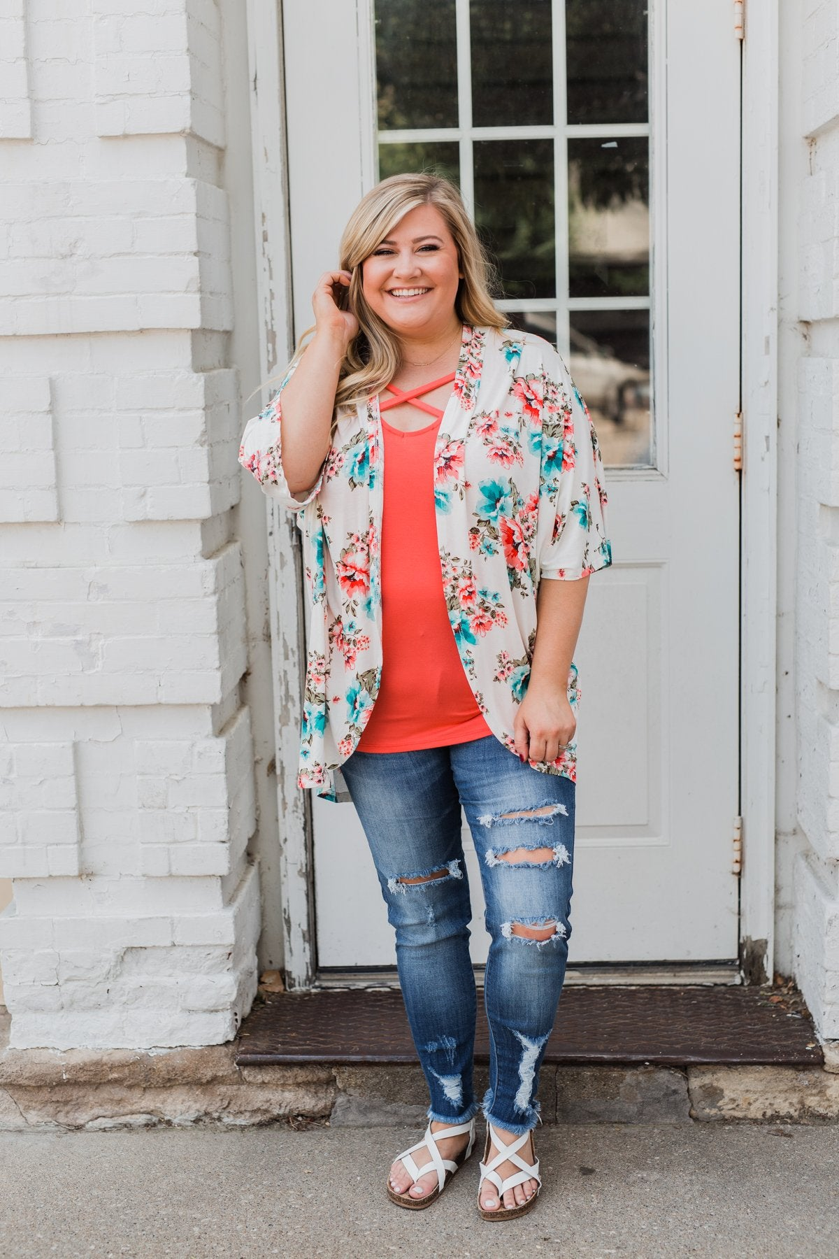 Effortless Beauty Floral Kimono- Ivory