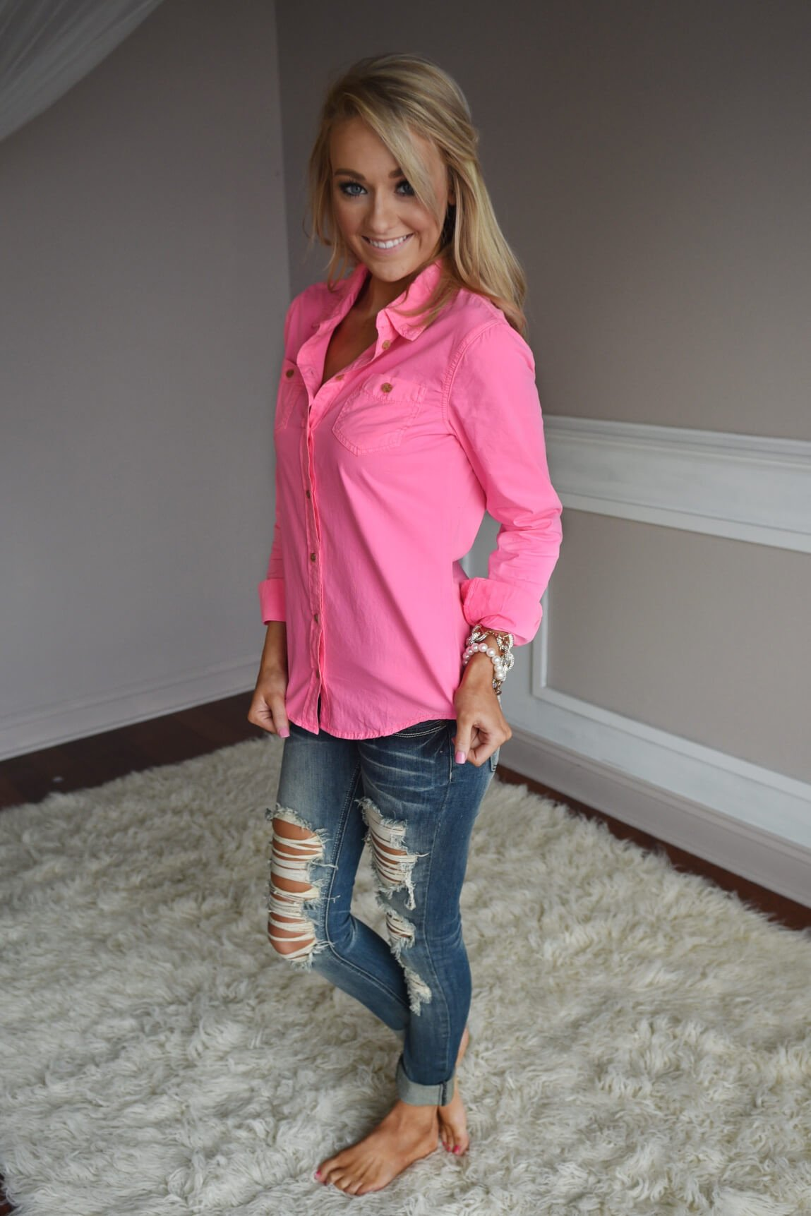 Neon Pink Button Up