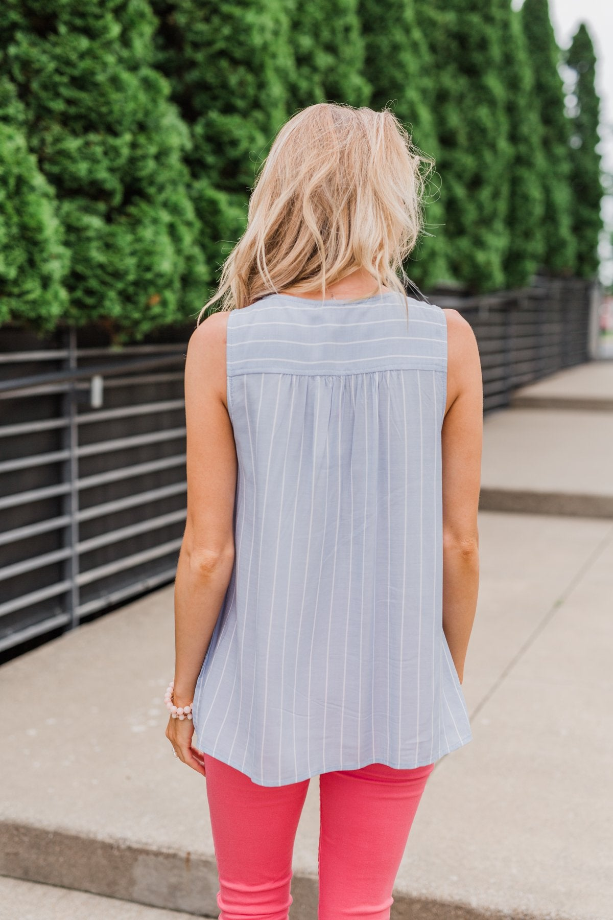 Detailed Embroider & Striped Tank Top- Light Blue