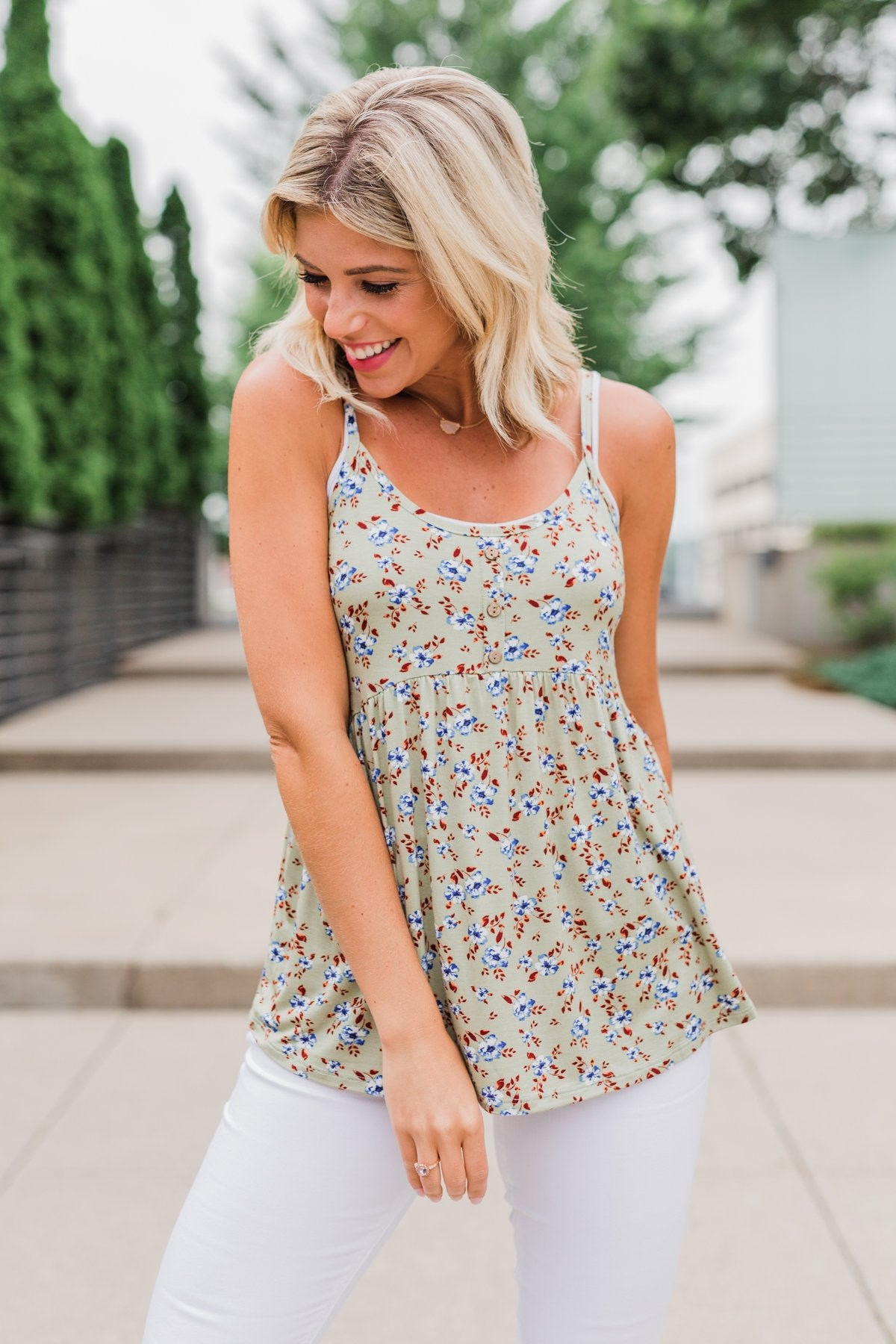 Be My Baby 3 Button Floral Babydoll Tank Top- Sage