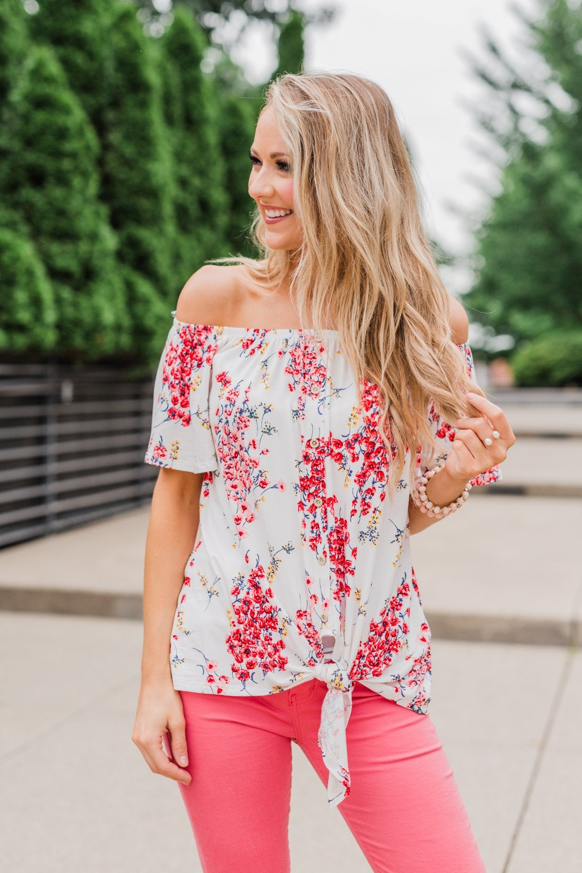 Lift My Spirits Floral Ruffle Top- Mauve