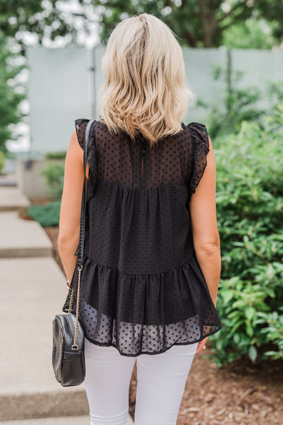 One & Only Lace Detail Sleeveless Top- Black