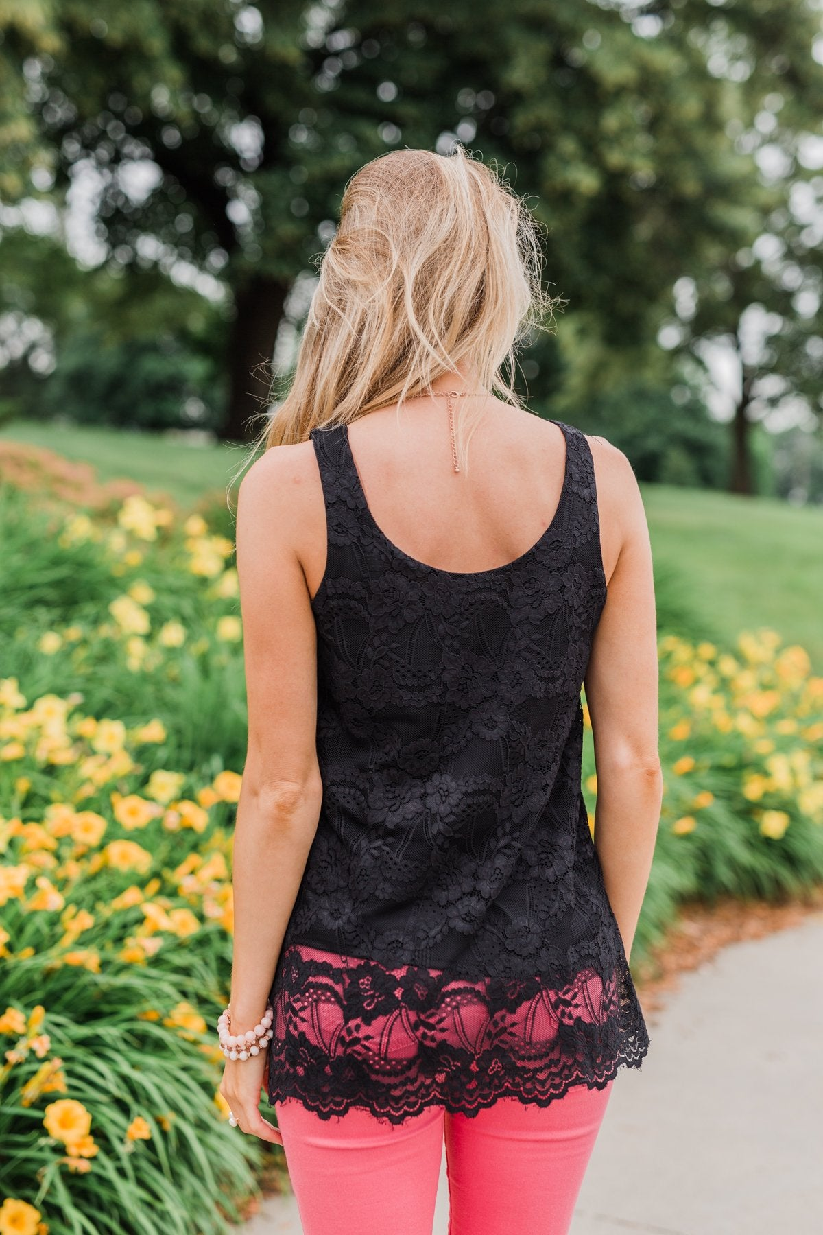 Perfect Moments Lace Tank Top- Black