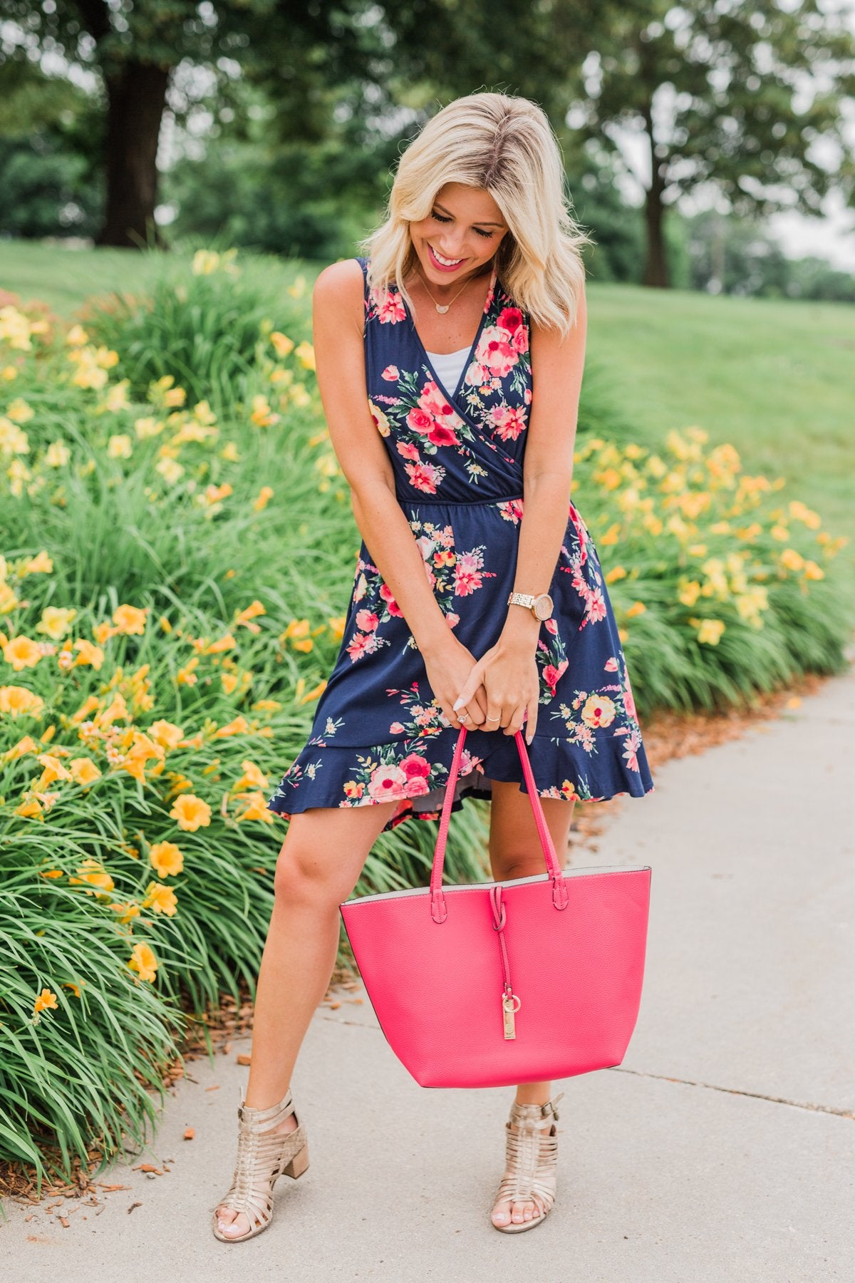 Let Me Love You Floral Wrap Dress- Navy