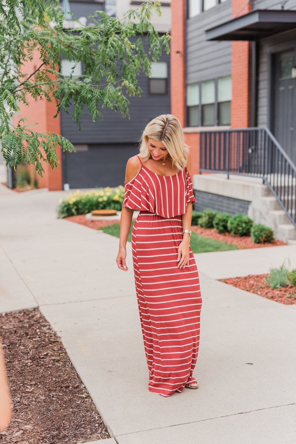 Feels Like Electricity Striped Maxi Dress- Rust