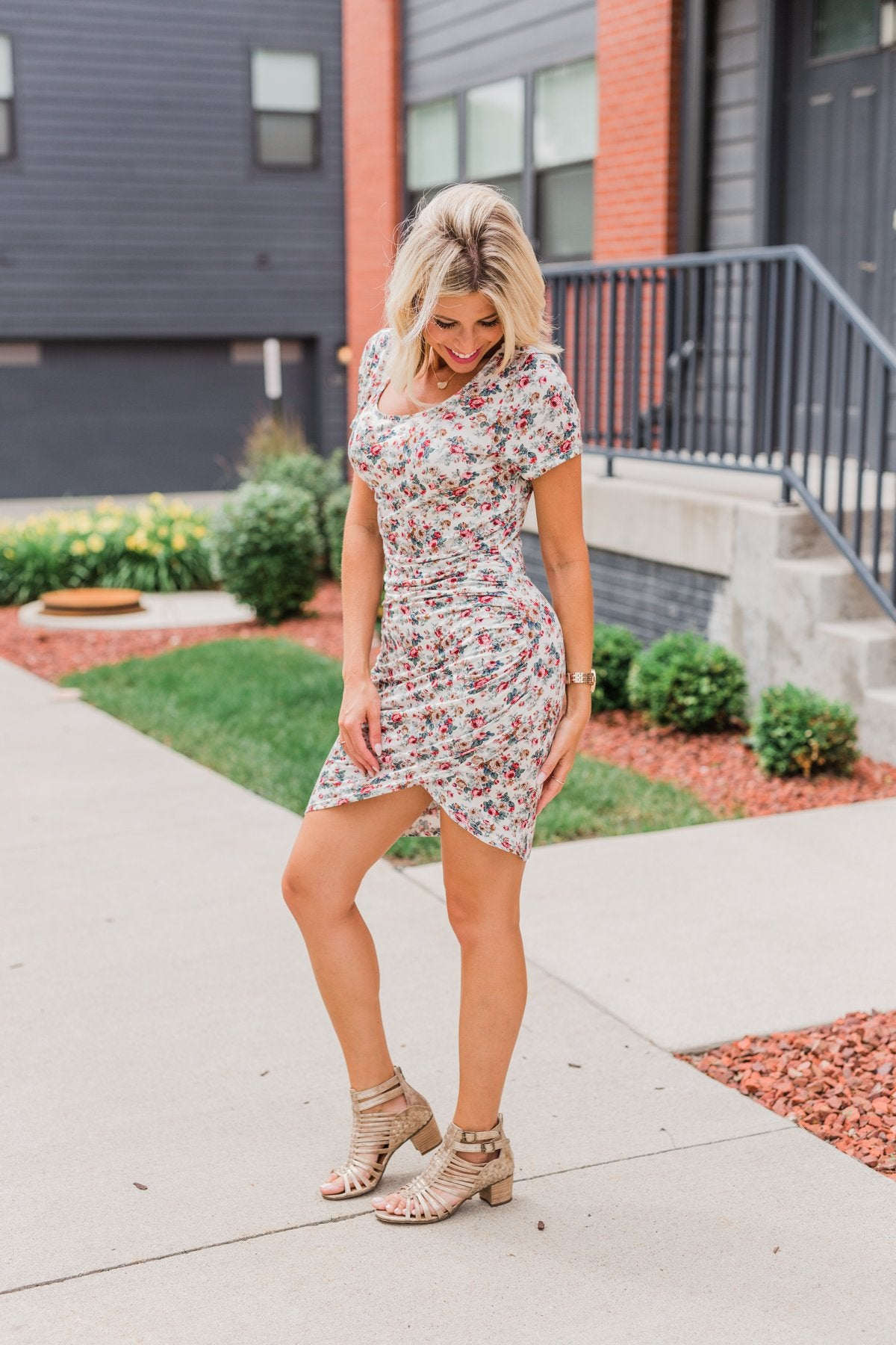 07df0612b5577d Floral Take Me Away Short Sleeve Dress- Off White – The Pulse Boutique