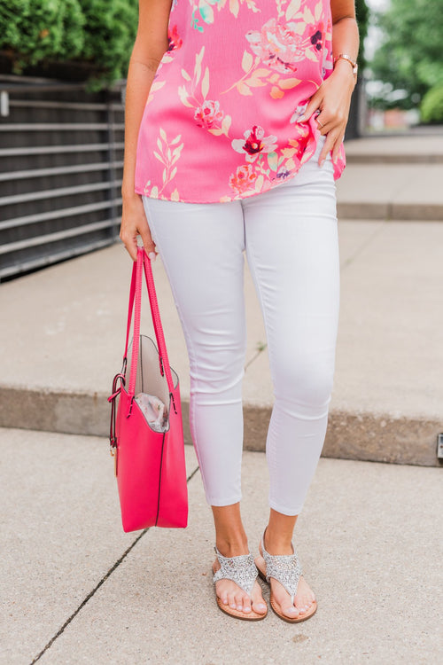 Celebrity Pink Ankle Skinny Jeans- White