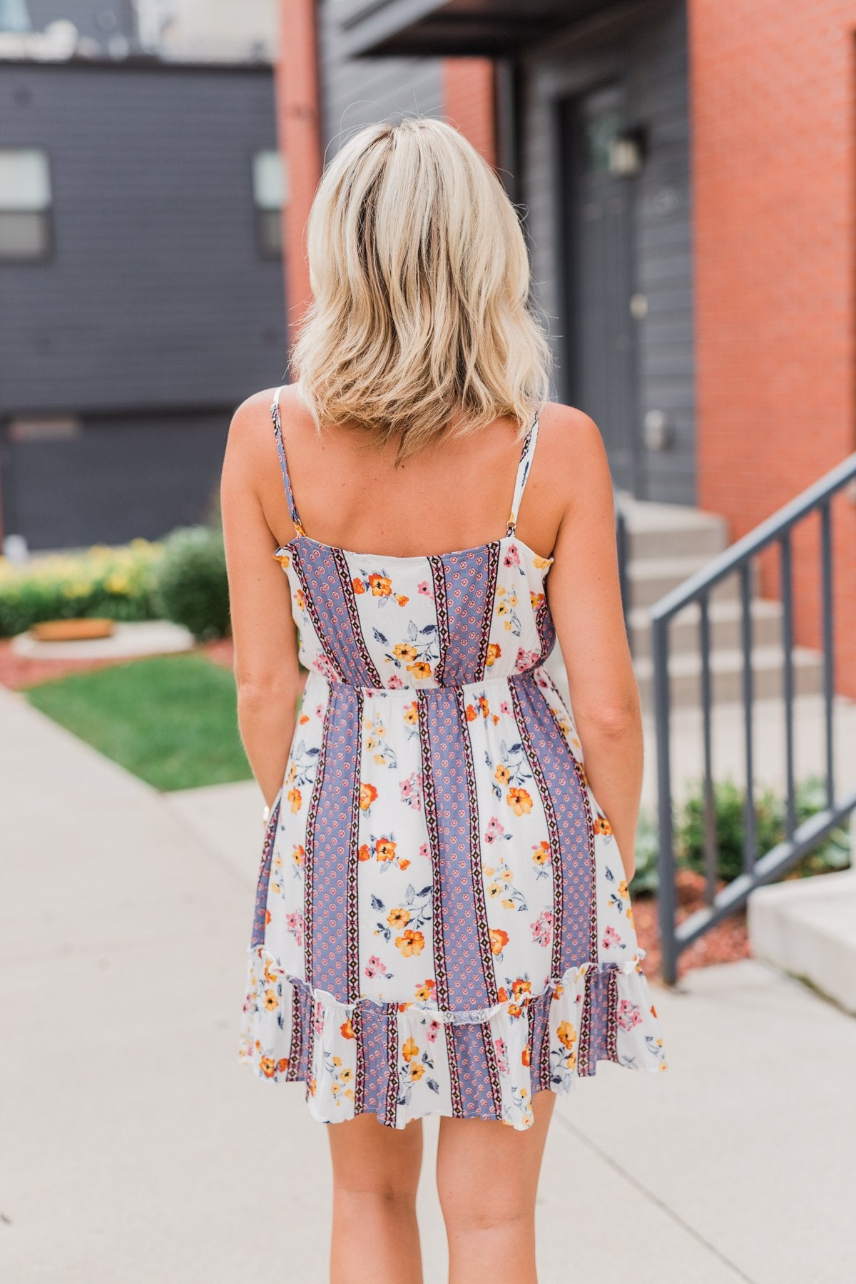 Call Me Cute Striped Floral Dress- Ivory & Dusty Blue