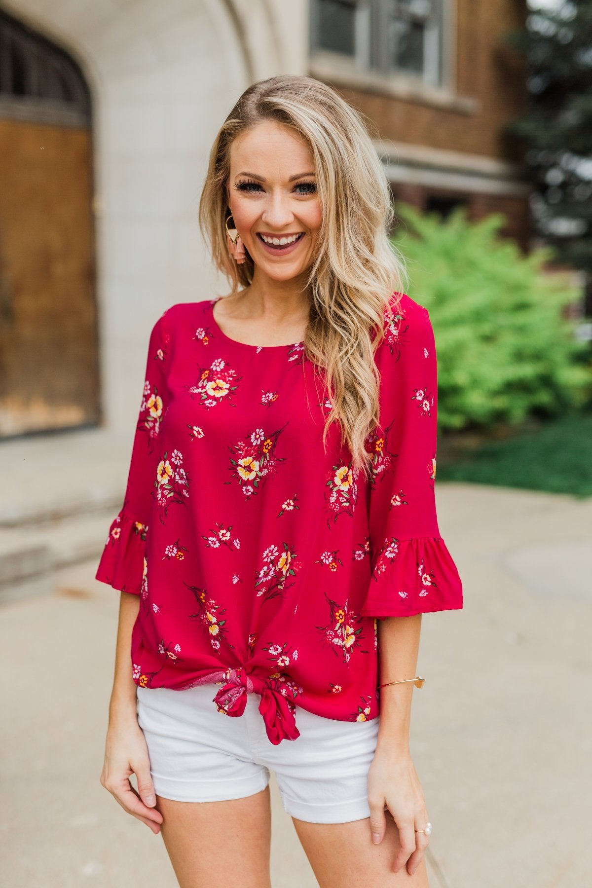 Life In A Fairytale Floral Top- Fuchsia