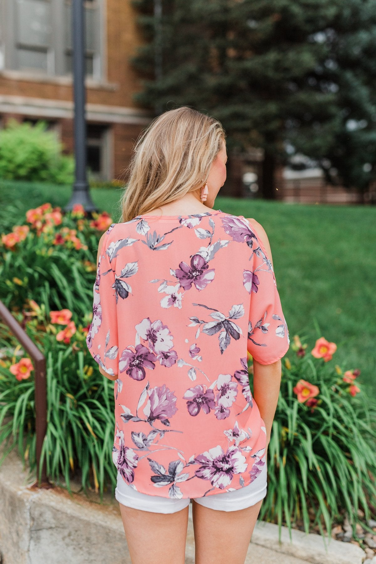 With Me Now Floral Cold Shoulder- Peach