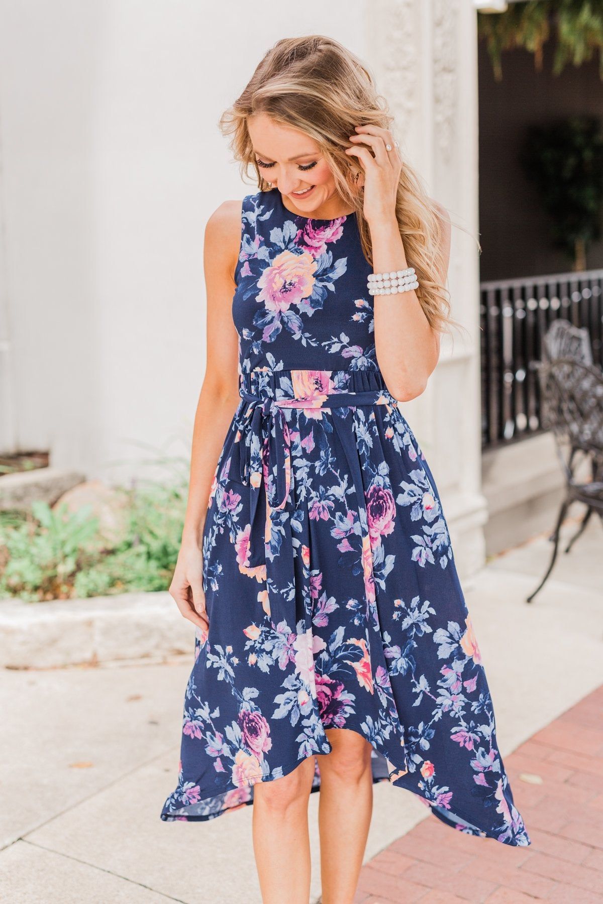 What if I Stay Hi-Lo Floral Maxi Dress- Navy
