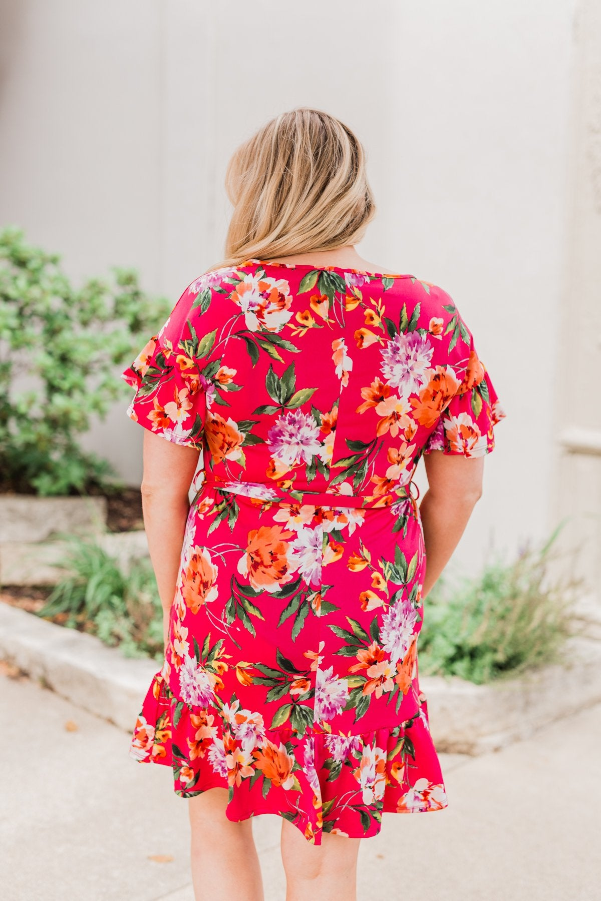 Can't Fight This Feeling Floral Dress- Fuchsia