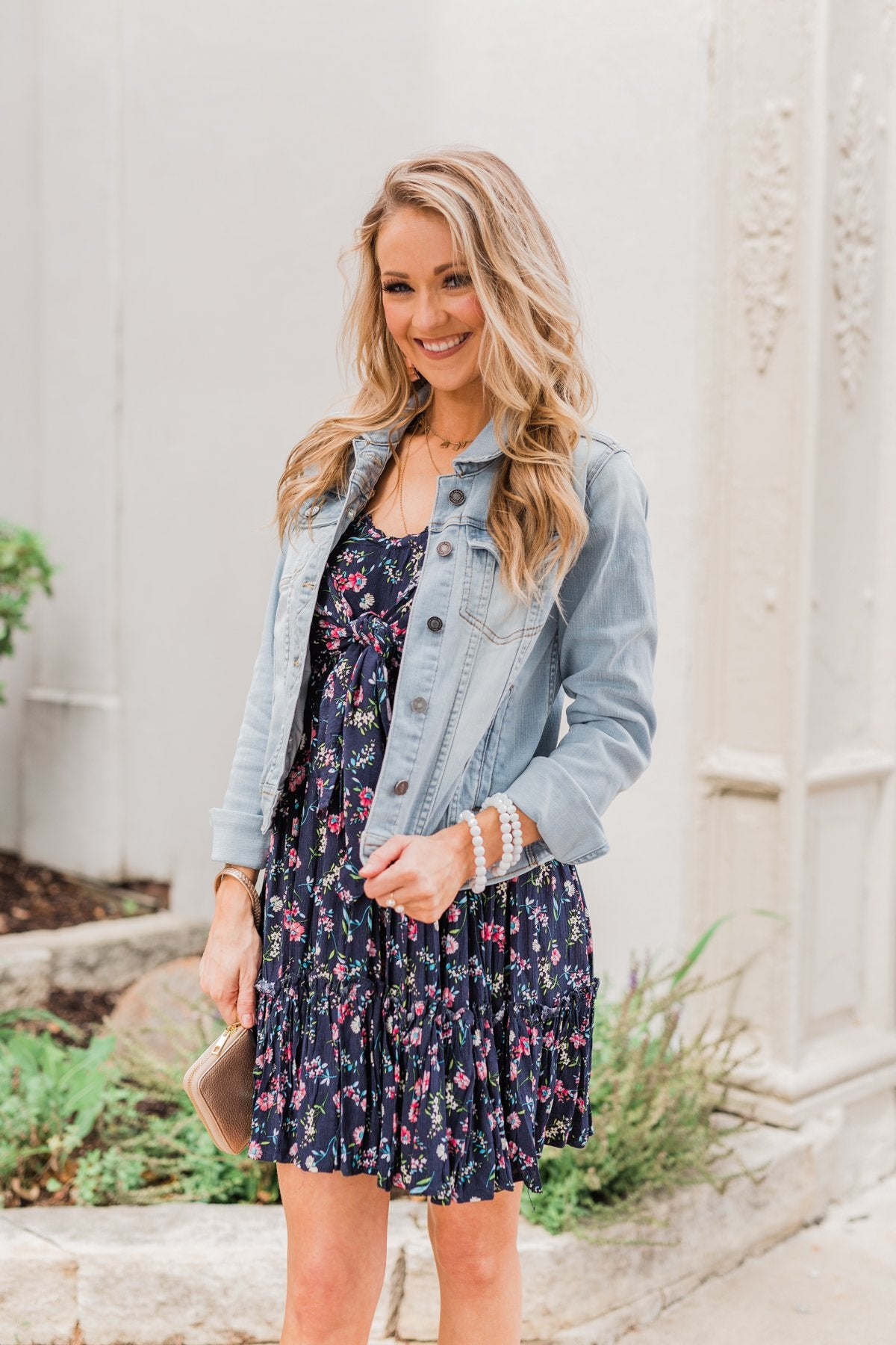 Saying Goodbye Floral Tie Dress- Navy