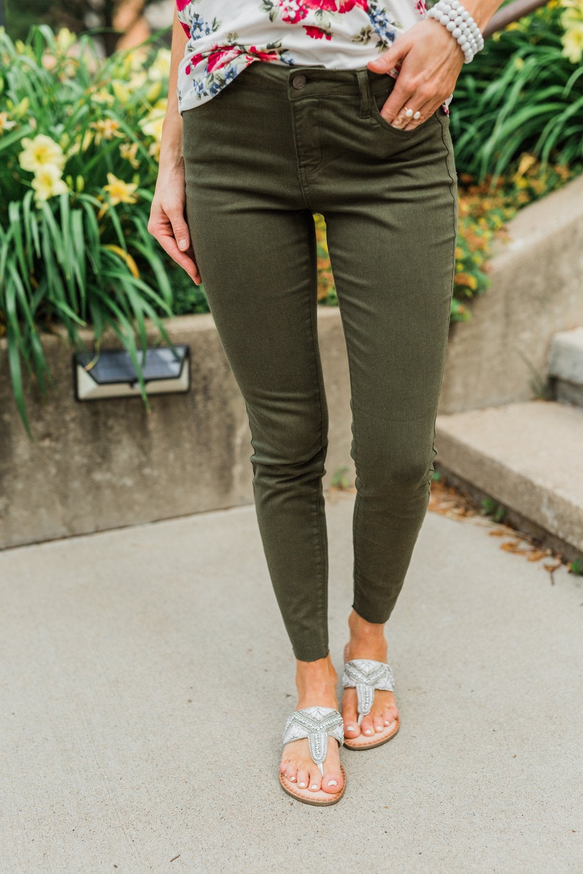 Cello Colored Skinny Jeans- Olive