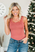 Sweet & Simple Lace Trimmed Tank Top- Marsala