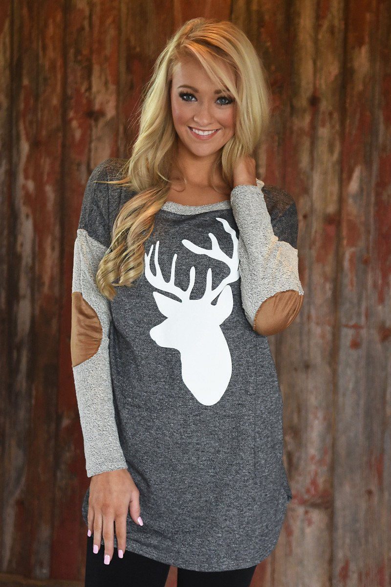 Deer Elbow Patch Top