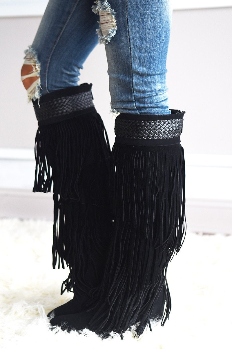Do It Dolly Style Fringe Boots ~ Black