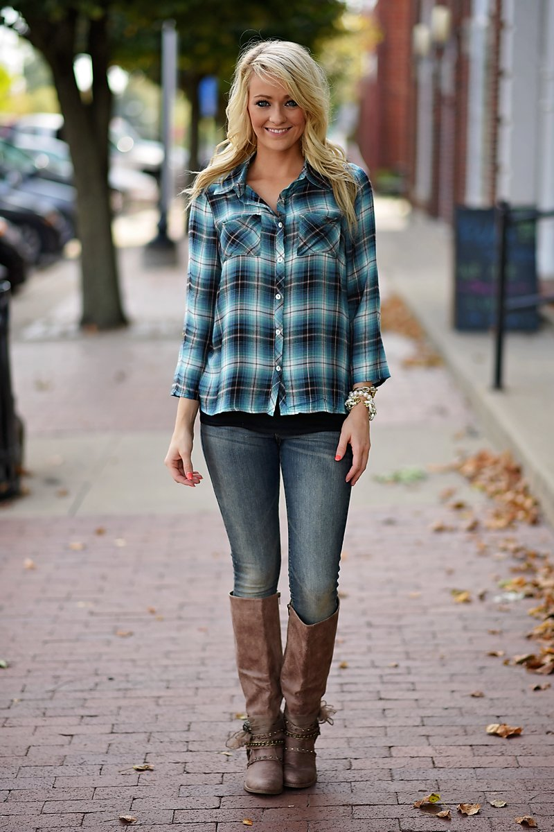 Electric Blue Plaid Top