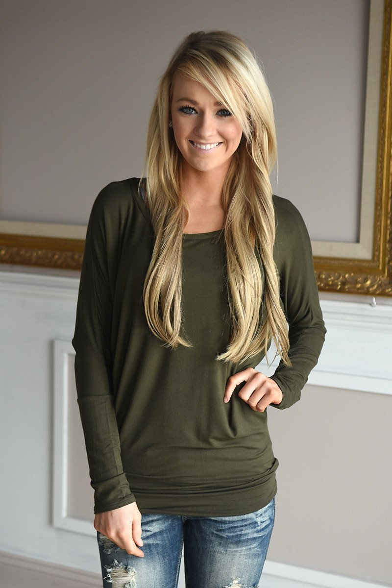 Essential Long Sleeve Top ~ Olive