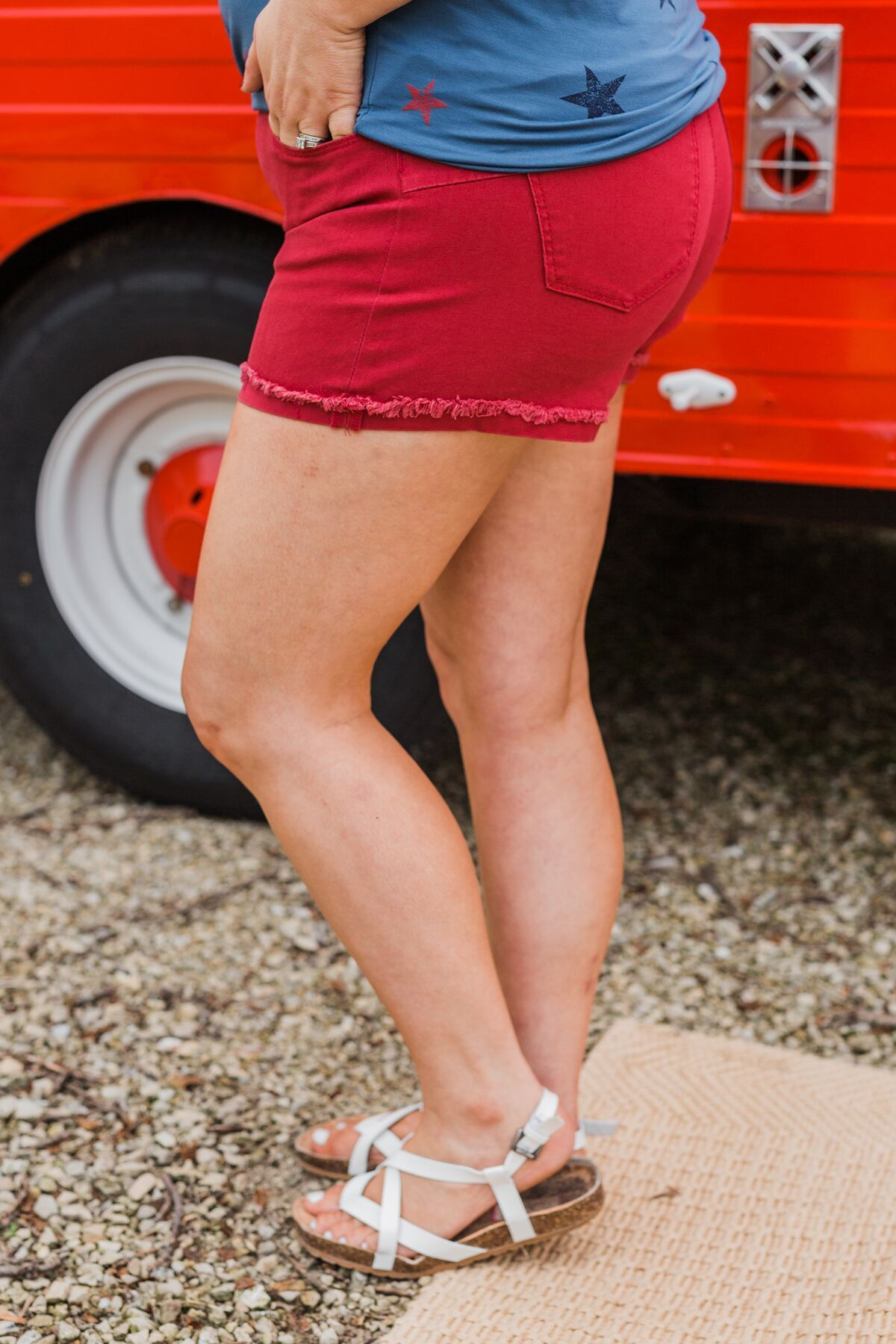 Celebrity Pink Cuff Shorts- Brick Red
