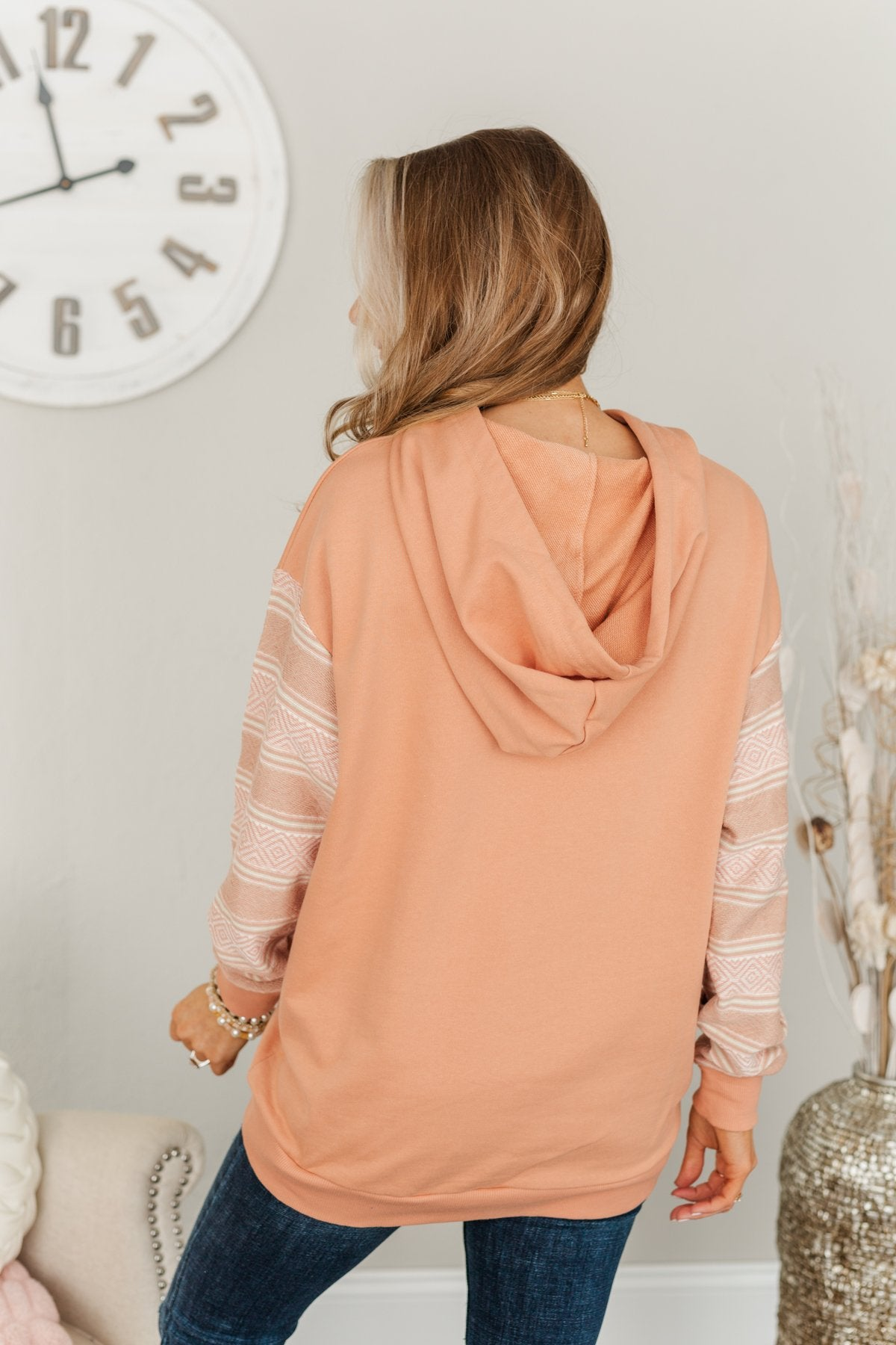 Escape To The Unknown Drawstring Hoodie- Light Terracotta