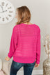 Stay Bright Pointelle Knit Sweater- Hot Pink