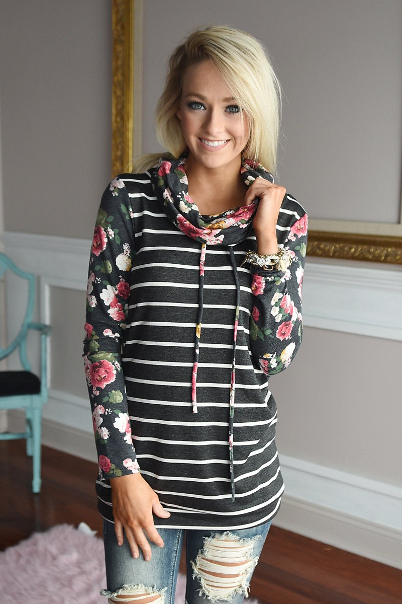 Floral And Stripes Cowl Neck Top
