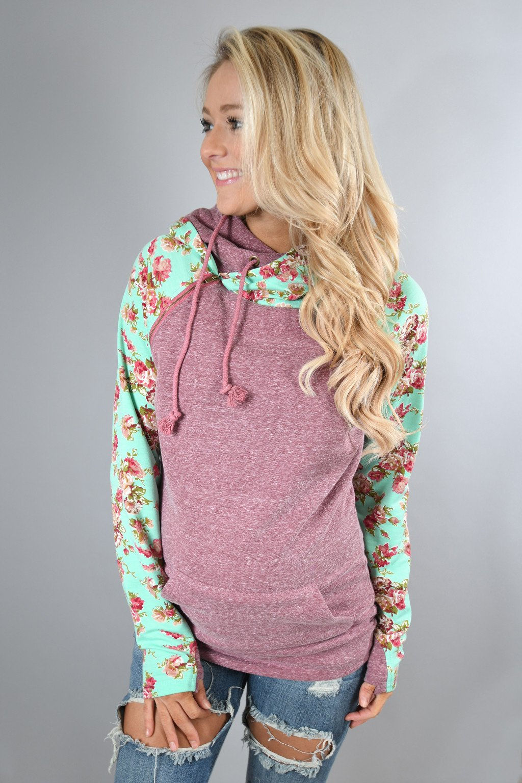 Ampersand Ave Double Hooded Sweatshirt Floral Maroon