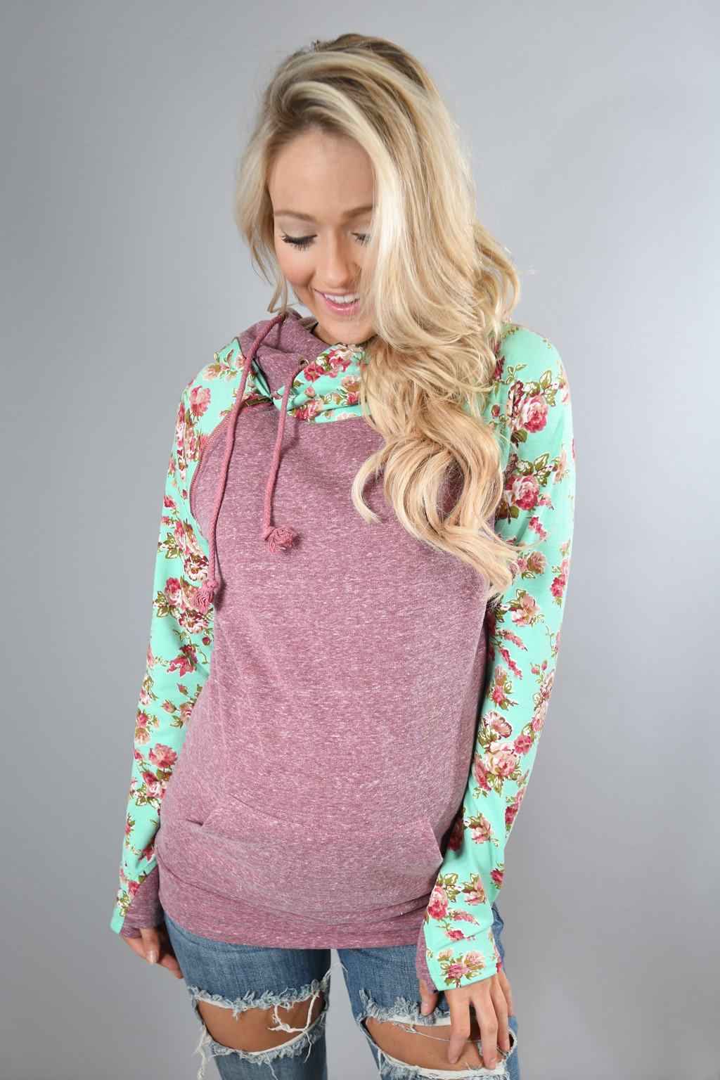 75ffc1a458b4a3 Ampersand Ave. Double Hooded Sweatshirt ~ Floral Maroon – The Pulse ...