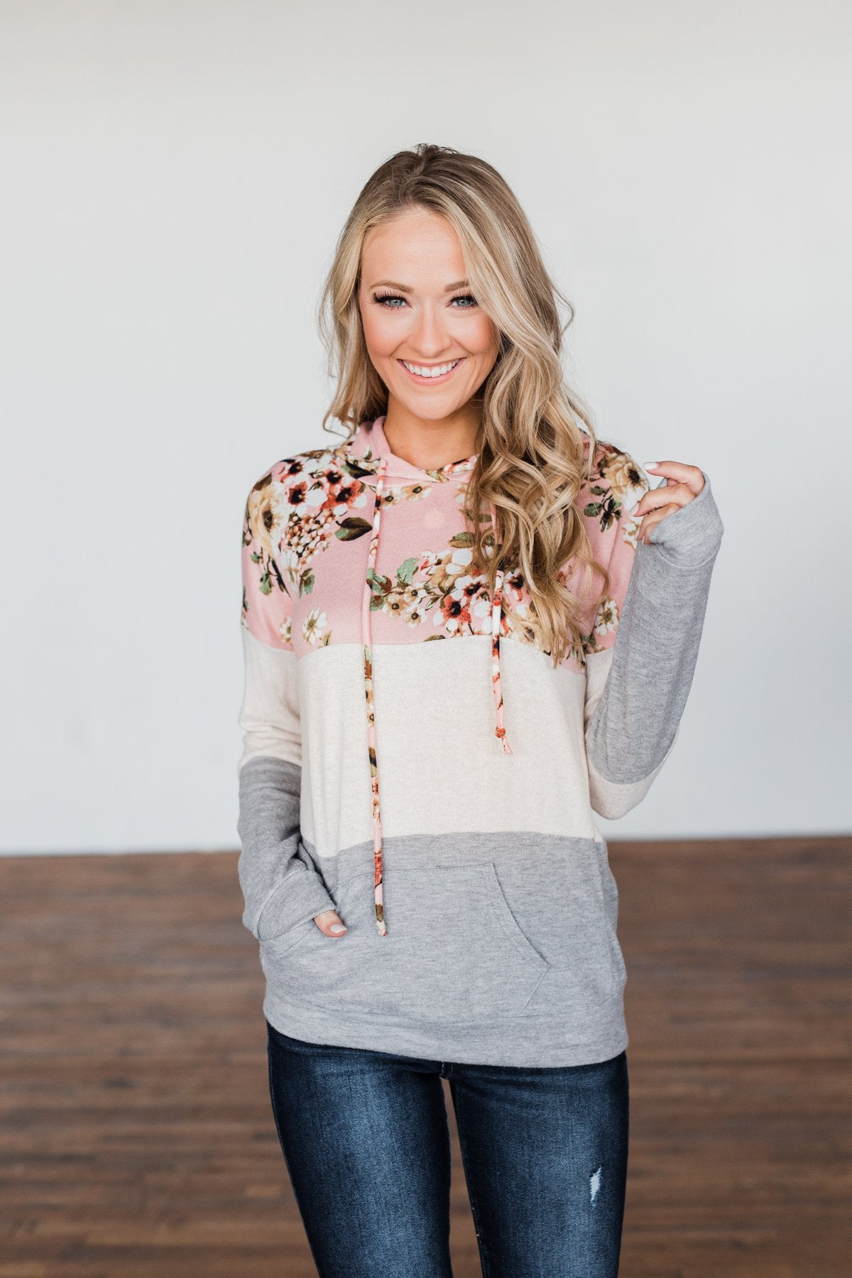 Dance All Day Color Block Hoodie- Pink, Oatmeal, & Grey