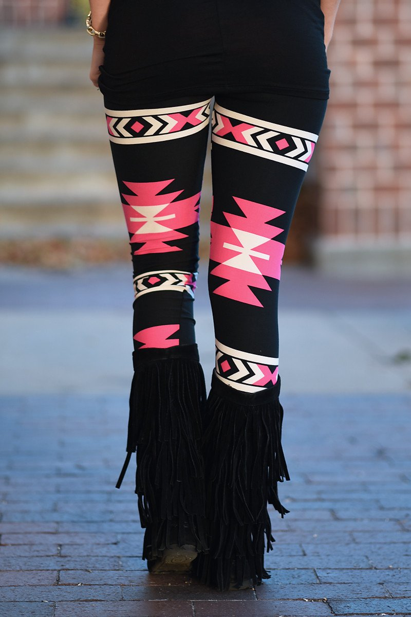 Follow Your Arrow Aztec Leggings ~ Pink