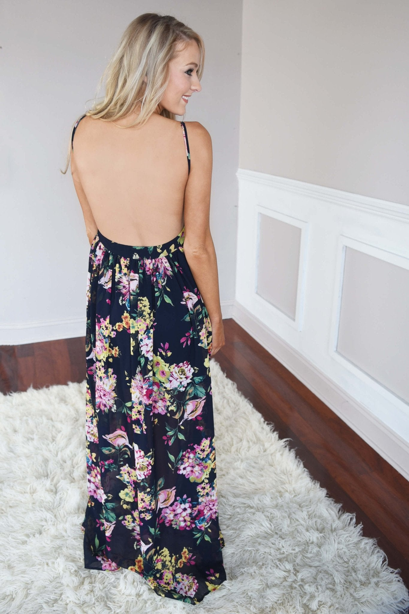 Fields of Freesias Maxi ~ Navy