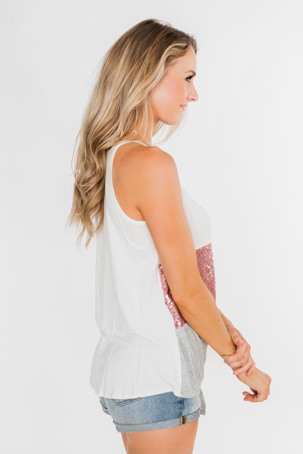 Full Of Sparkle Front Knot Halter Top- Ivory, Pink, & Gray