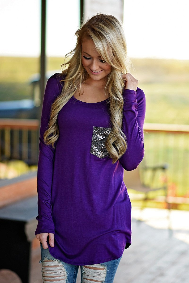 Glam Pocket Top - Purple