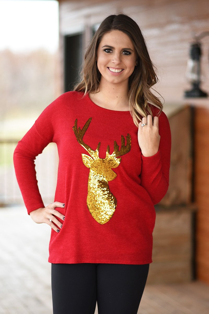 Gold Sequin Deer Top ~ Red