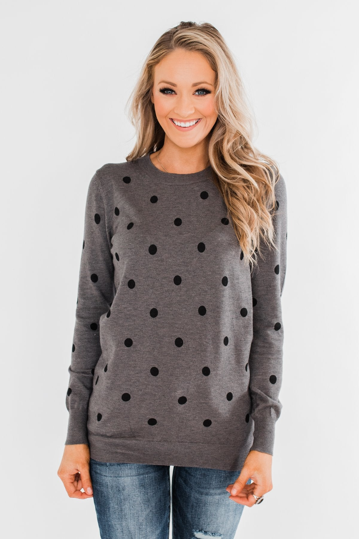 Together We Can Polka Dot Sweater- Charcoal