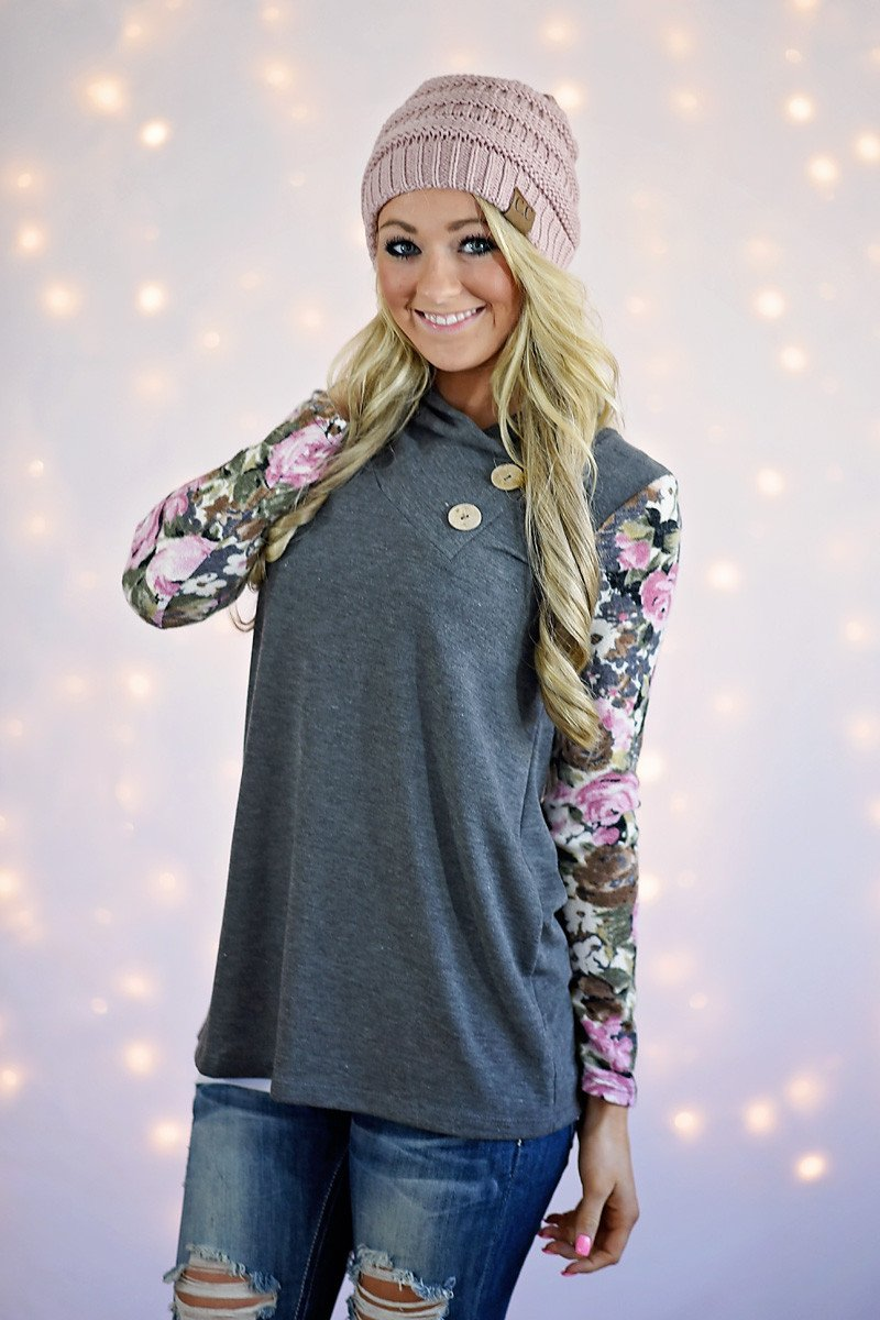 In Bloom Top ~ Grey