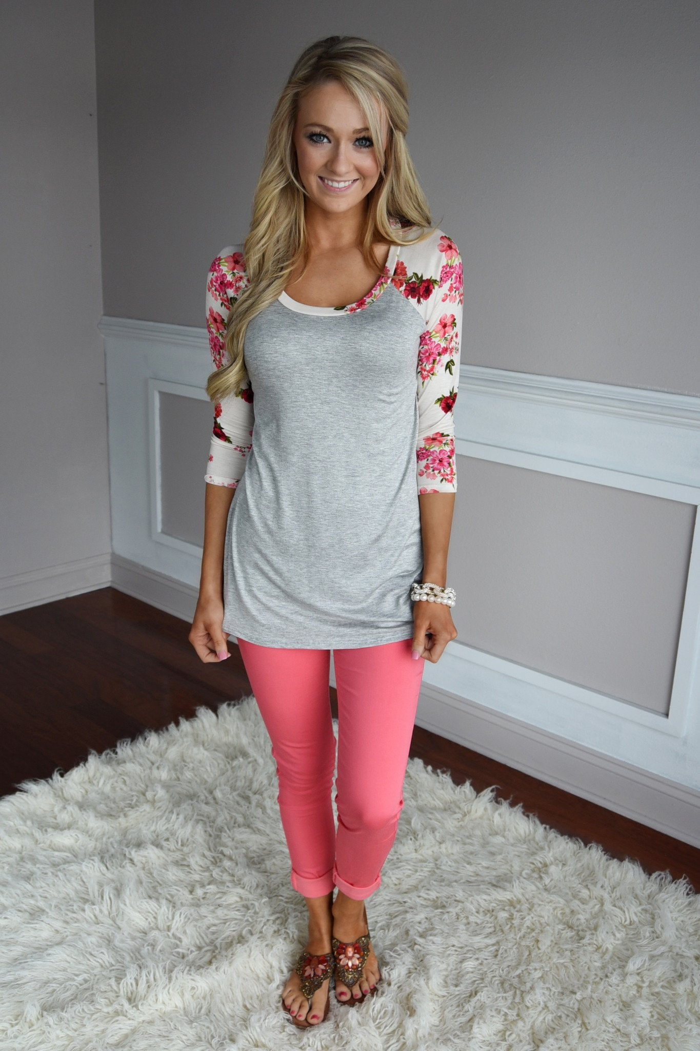 Grey Floral Top ~ Red & Pink